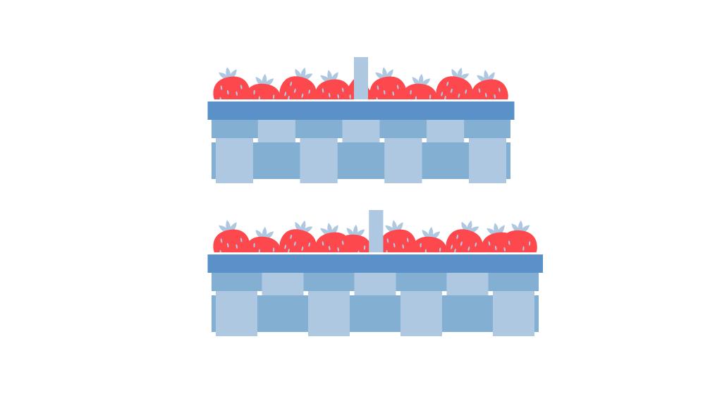 Erntemenge von Erdbeeren im Freiland
