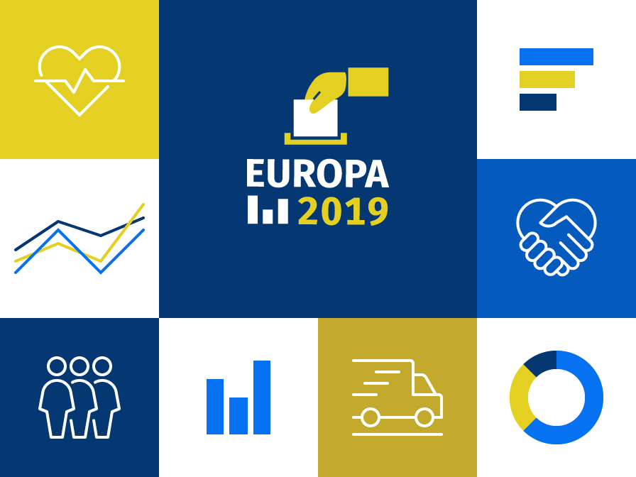 Die Abbildung zeigt eine Illustration zum Thema Europawahl 2019 (© Destatis)
